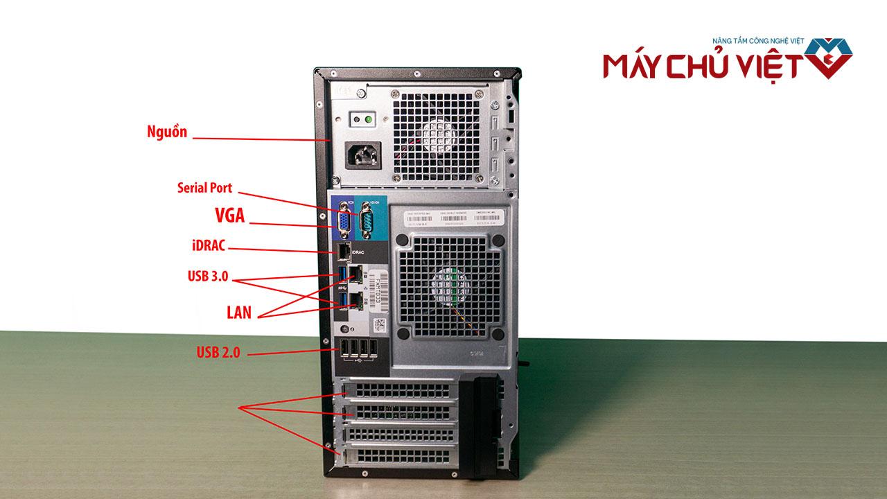 Mặt sau của Dell T140