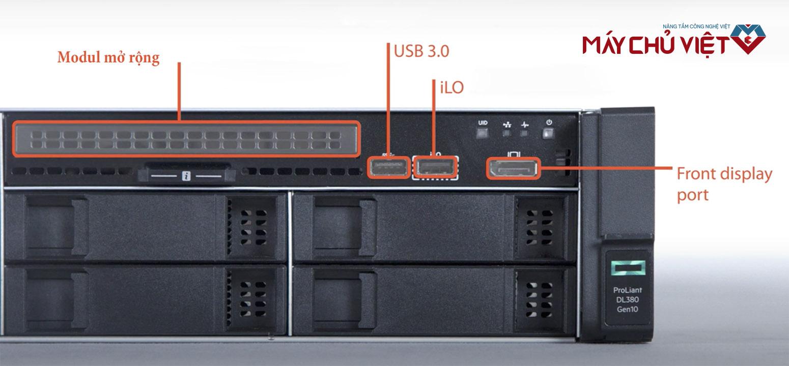 Các cổng kết nối mặt trước của HPE Proliant DL380 G10
